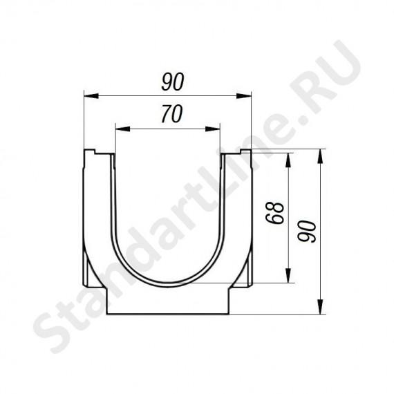 Лоток водоотводный S'park ЛВ–07.09.09-ПП пластиковый с решеткой штампованной стальной кл. А (комплект) 088011