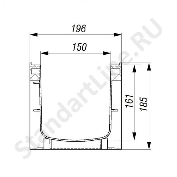 Лоток водоотводный Gidrolica Standart ЛВ-15.19,6.18,5 - пластиковый
