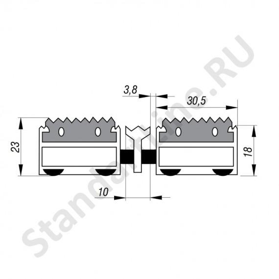 Придверная решетка Степ Резина+Скребок, A15  (арт. 30014)