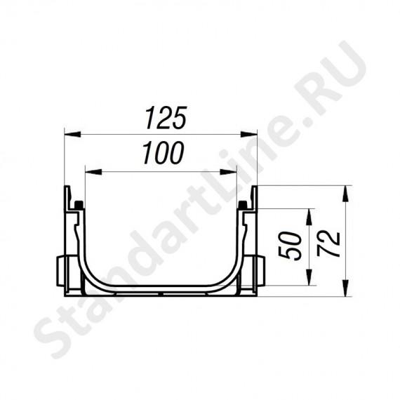 Лоток водоотоводный S'park ЛВ-10.14.07-ПП пластиковый с решеткой стальной оцинкованной кл.А (комплект) 0881011