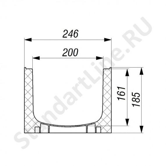 Лоток водоотводный Gidrolica Standart Plus ЛВ-20.24,6.18,5 - пластиковый (усиленный)