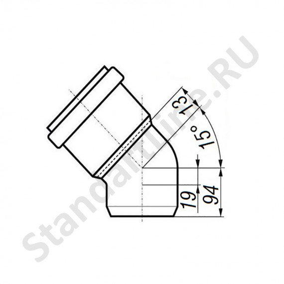 Отвод 160 мм 15° для наружной канализации