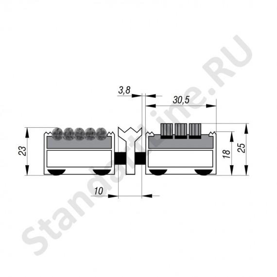 Придверная решетка Степ Бруш+Текстиль+Скребок, A15  (арт. 30234)