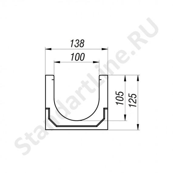 Лоток водоотводный CompoMax Basic ЛВ-10.14.13-П полимербетонный 7000