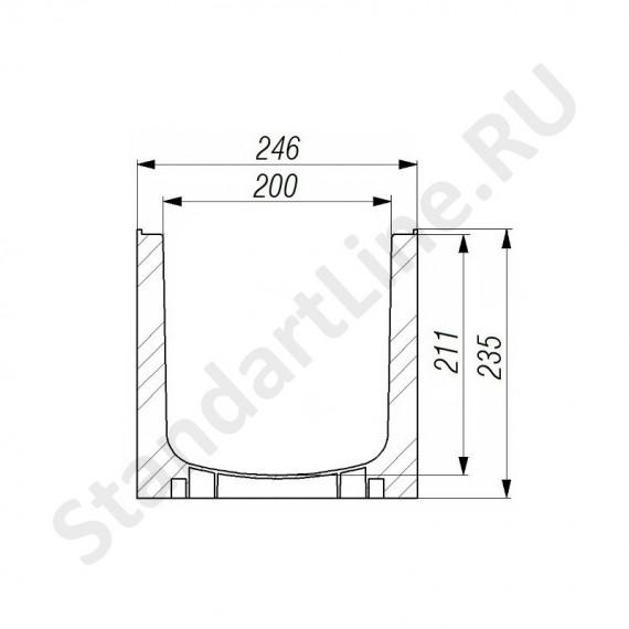 Лоток водоотводный Gidrolica Standart Plus ЛВ-20.24,6.23,5 - пластиковый (усиленный)