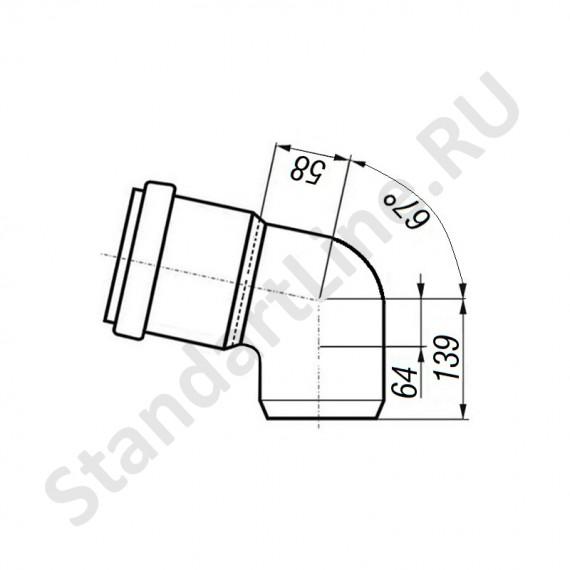 Отвод 160 мм 67° для наружной канализации