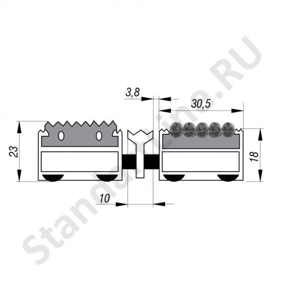Придверная решетка Степ Резина+Текстиль+Скребок, A15  (арт. 30124)